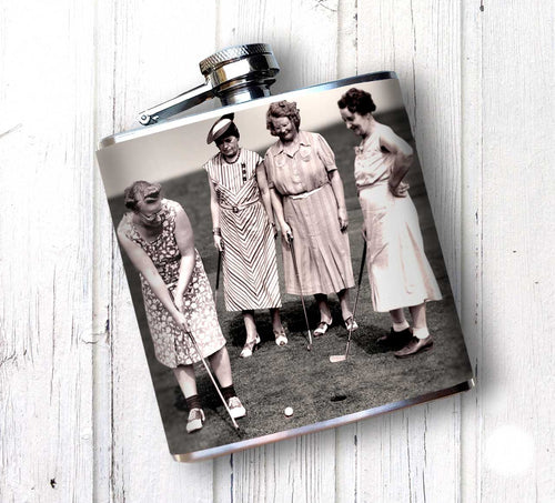 Oso and Bean Vintage Women Golfers Designer Art Hip Flask