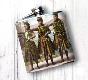 Oso and Bean Vintage Hawaiian Hula Dancers 1 Designer Art Hip Flask