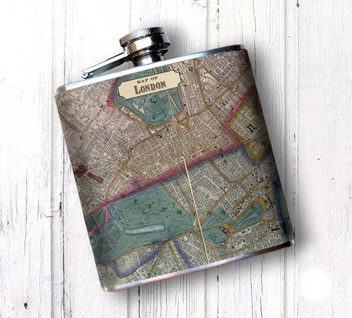 Oso and Bean Vintage London Map Designer Art Hip Flask