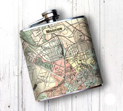 Oso and Bean Vintage Moscow Russia Map Designer Art Hip Flask