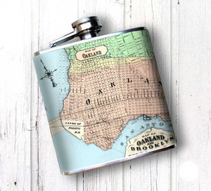 Oso and Bean Vintage Oakland California Map Designer Art Hip Flask