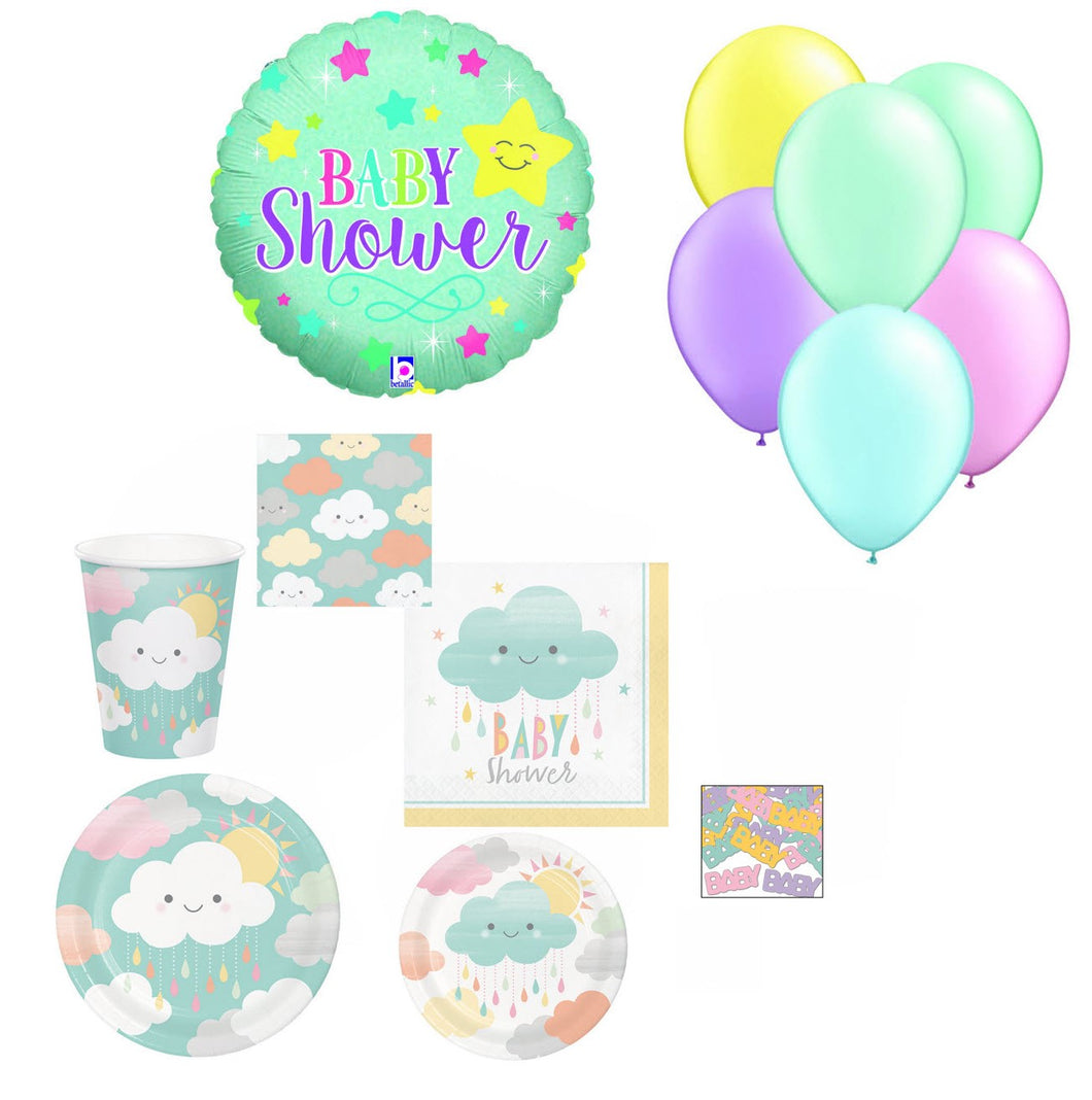 Baby Shower Party Supplies for 16 - Gender Neutral Plates Napkins Cups Balloons Confetti