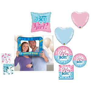 Gender Reveal Boy Party Supplies for 16 - Baby Shower Plates Napkins Cups Balloons Confetti