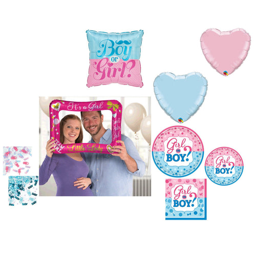 Gender Reveal Girl Party Supplies for 16 - Baby Shower Plates Napkins Cups Balloons Confetti