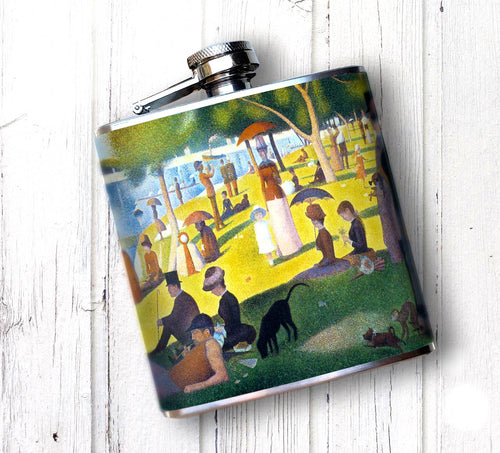 Oso and Bean Sunday in the Park Seurat Art Designer Hip Flask