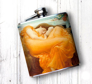 Oso and Bean Flaming June Renaissance Art Designer Hip Flask