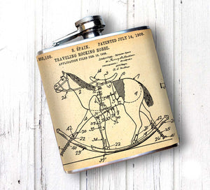 Oso and Bean Rocking Horse Antique Patent Drawing Designer Art Hip Flask