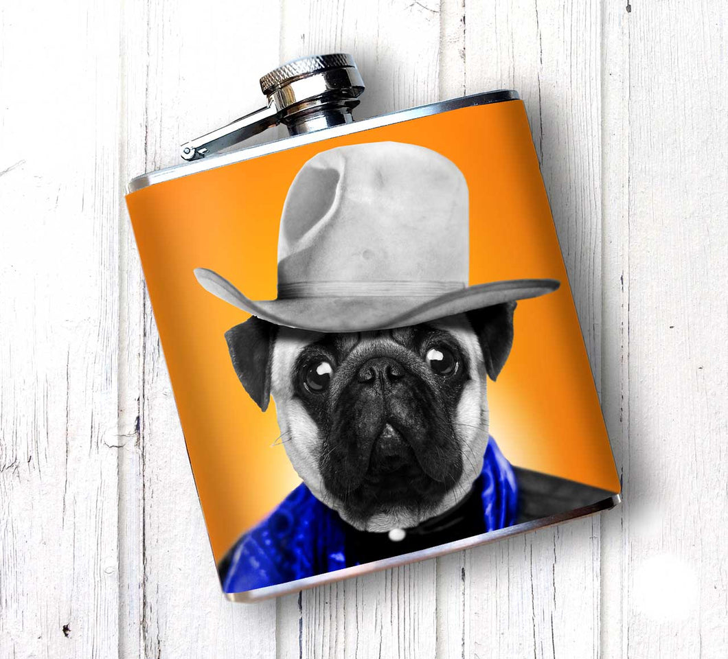 Oso and Bean Pug Cowboy Dog Designer Art Hip Flask