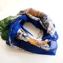 Fair Trade Animal Print Handmade Screen Print Blue Multicolor Scarf