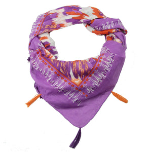 Fair Trade Feather Pattern Handmade Screen Print Purple Scarf