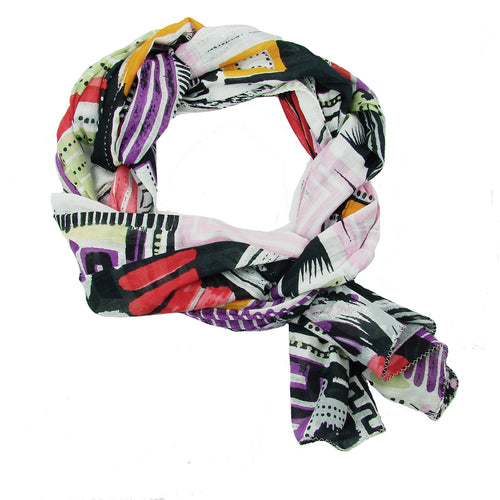 Fair Trade Cityscape Handmade Screen Print Multicolored Long Scarf