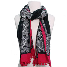 Fair Trade Paisley Handmade Screen Print Black Pink Scarf