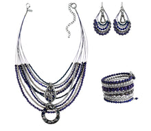 Boho Blue and Silver Multilayer Statement Necklace Dangle Earrings Bead Bracelet Set