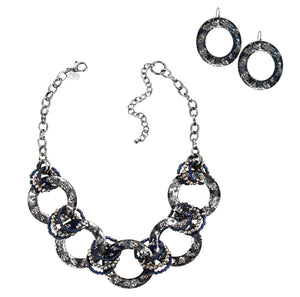 Boho Blue and Silver Rings Collar Statement Necklace and Hoop Dangle Earrings Set
