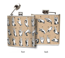 Oso and Bean Sign Language Alphabet Designer Art Hip Flask