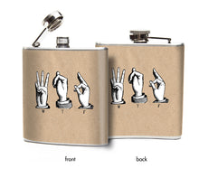 Oso and Bean WTF Sign Language Designer Art Hip Flask