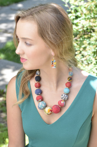 Fair Trade Graduated Recycled Textile Kantha Bead Necklace WorldFinds