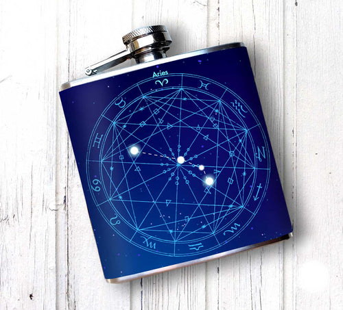Oso and Bean Aries Zodiac Sign Designer Art Hip Flask