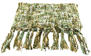 Handmade Thai Woven Olive Green Cream Multi Scarf