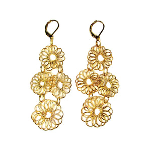 Blooming Chandelier Brass Wire Fair Trade Earrings