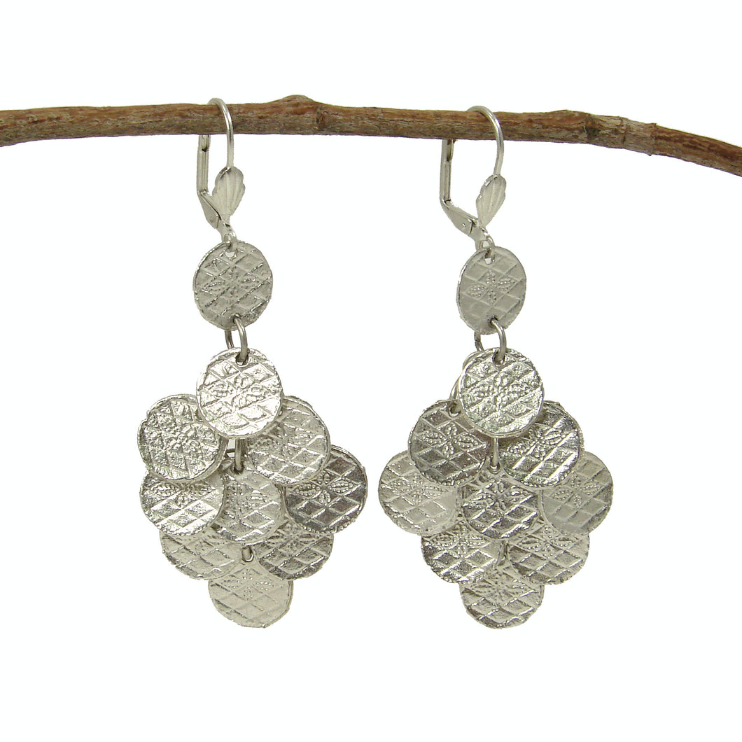 Chandelier Disc Silvertone Fair Trade Earrings