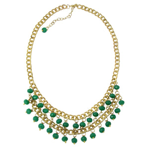 Teal and Gold Anjali Opaque Beaded Fair Trade Necklace