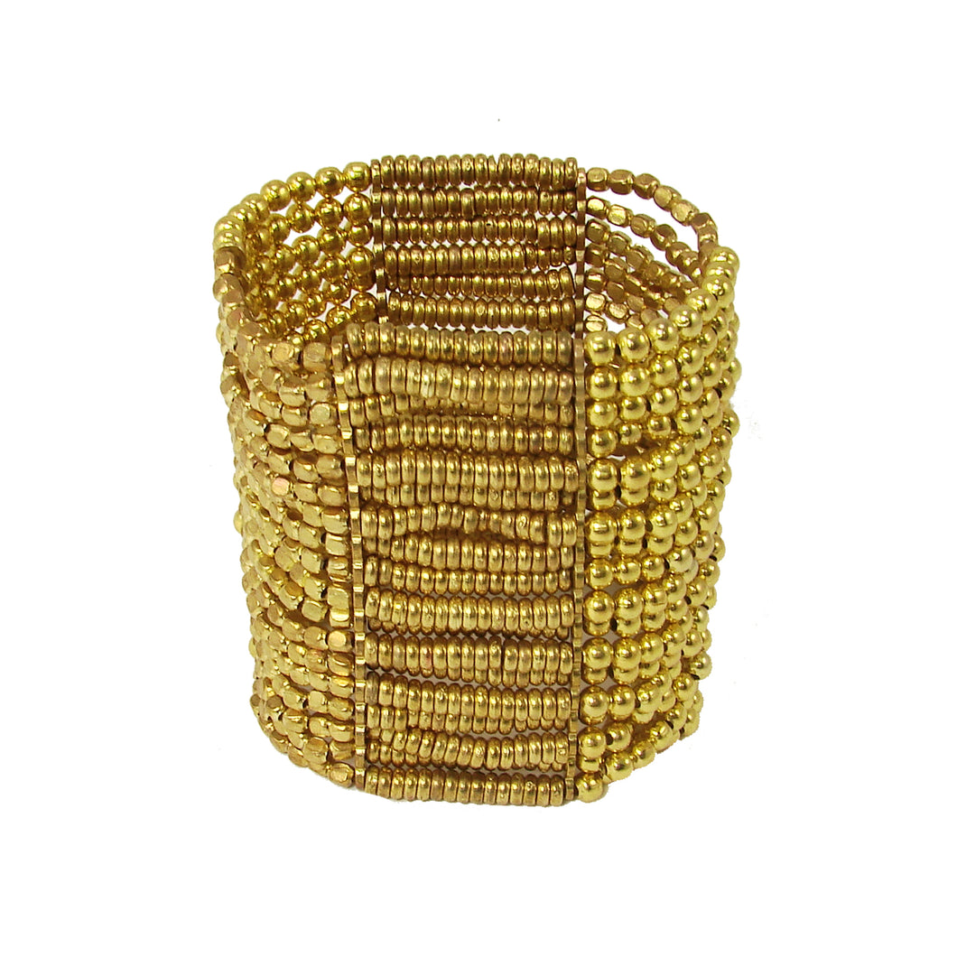 Zahra Gold Metallic Bead Fair Trade Boho Stretch Bracelet
