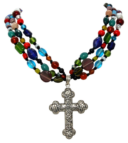 Handmade Silver Cross Multi Color Beaded Necklace