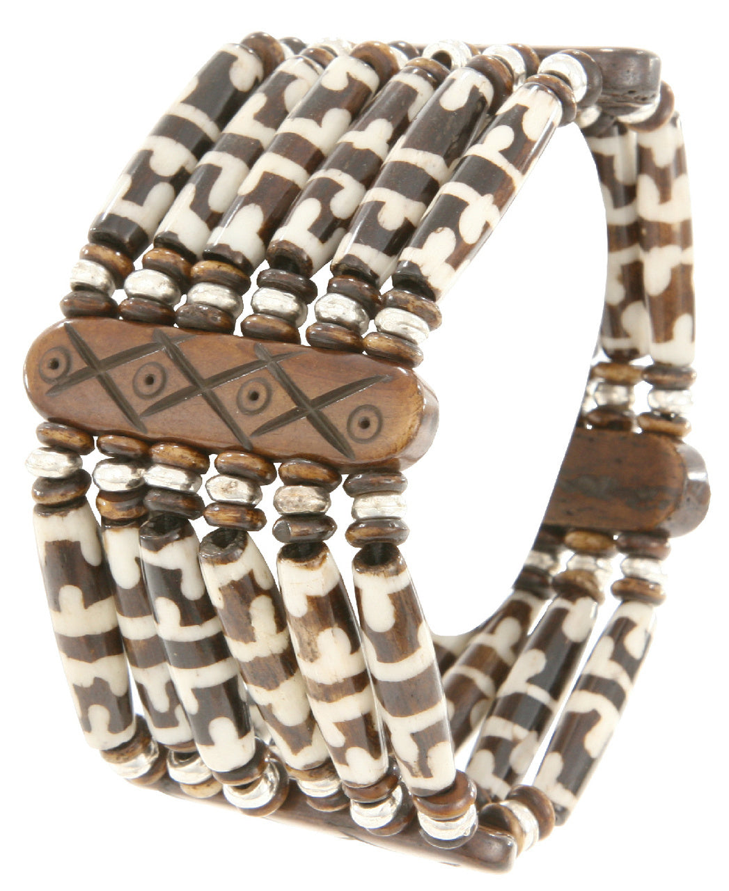 Handmade Indian Wood Resin Bead Stretch Bracelet