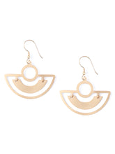 Mata Traders Bauhaus Curved Geometrical Goldtone Brass Fair Trade Earrings