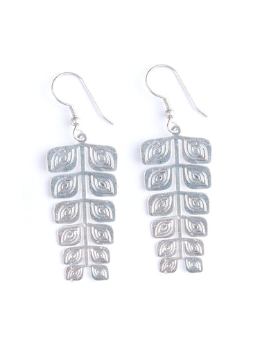 Arcadia Leaf Silvertone Brass Fair Trade Earrings