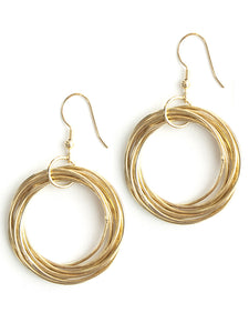 Connected Hoop Goldtone Brass Fair Trade Earrings