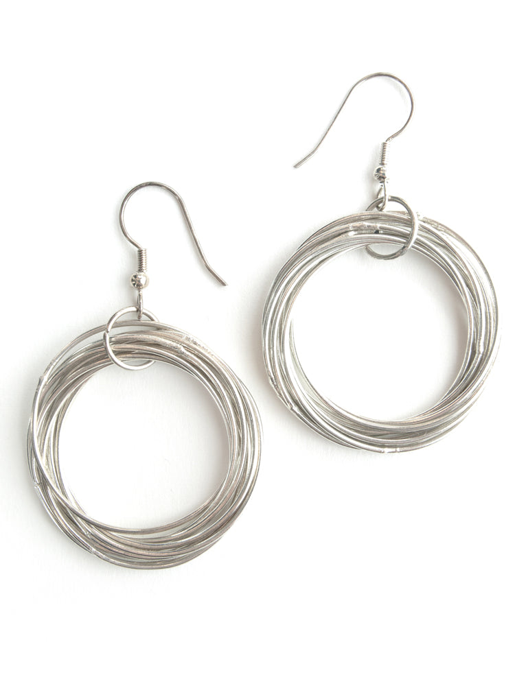 Connected Hoop Silvertone Brass Fair Trade Earrings