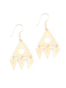 Mata Traders Cosmos Triangle 4 Part Goldtone Fair Trade Dangle Earrings