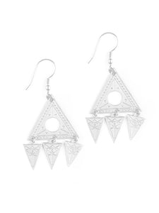 Mata Traders Cosmos Triangle 4 Part Silvertone Fair Trade Dangle Earrings
