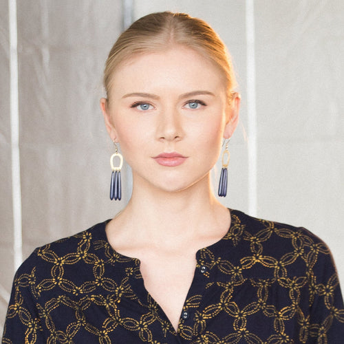 Mata Traders Empress Upcycled Blue Bone and Goldtone Brass Fair Trade Earrings