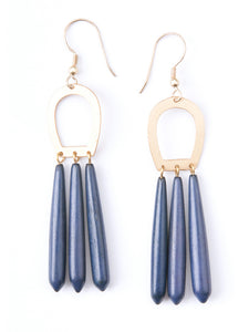 Empress Upcycled Blue Bone and Goldtone Brass Fair Trade Earrings
