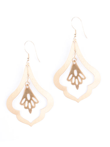 Mata Traders Lyrical Goldtone Fair Trade Statement Earrings