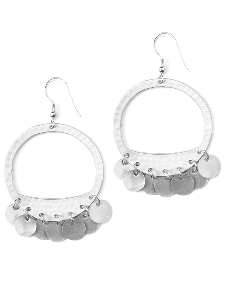 Moon Fringe Silvertone Brass Fair Trade Hoop Earrings