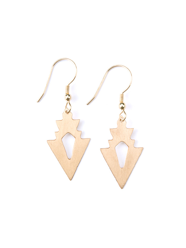 Mata Traders Petit Arrow Goldtone Brass Fair Trade Dangle Earrings