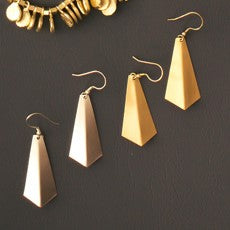 Mata Traders Time and Space Silvertone Brass Fair Trade Dangle Earrings