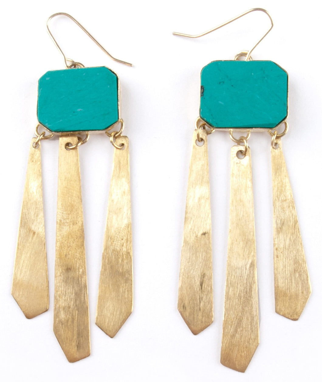 Vanity Fair Brass and Turquoise Resin Fair Trade Earrings