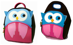 Dabbawalla Hoot Owl Kids Backpack Lunch Bag Set