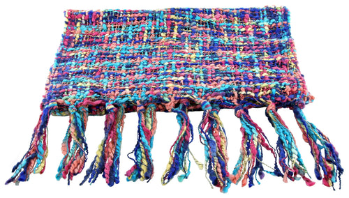 Handmade Thai Woven Purple Teal Pink Multi Scarf