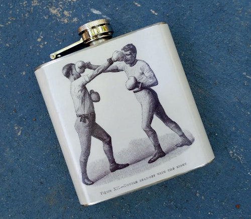 Oso and Bean Antique Boxers Designer Art Hip Flask