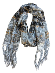Fair Trade Thai Woven White with Stripe and Loops Handmade Scarf