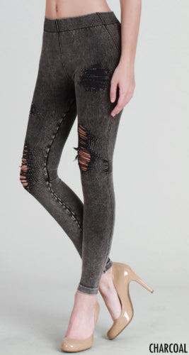 Charcoal Grey Destroyed Distressed Ripped Vintage Leggings