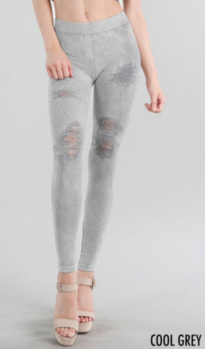 Light Cool Grey Destroyed Distressed Ripped Vintage Leggings