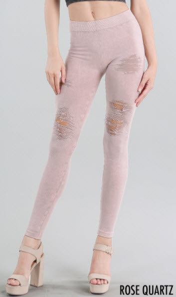 Rose Quartz Dusty Pink Destroyed Distressed Ripped Vintage Leggings