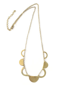 Crescent Cutout Geometric Goldtone Fair Trade Necklace